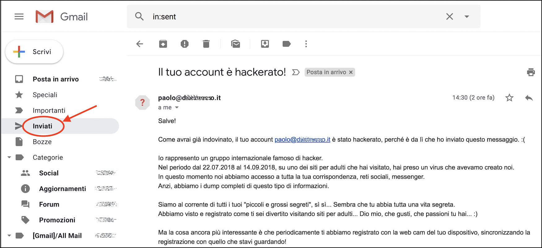 Un ricatto finge l`hacking della mail e il furto password, ma è una truffa: cosa fare